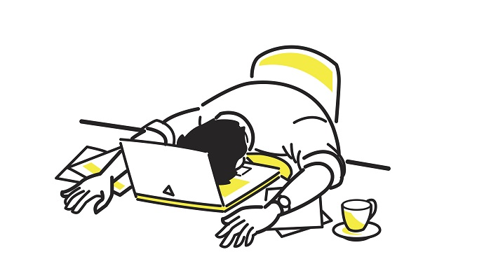 Graphic image of a man asleep on a laptop at work