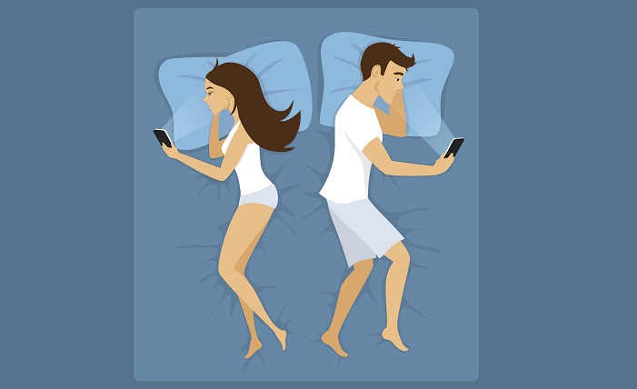 Illustration of couple looking at their mobile phones in bed