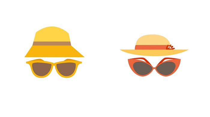 An image containing icons of sun hats and sun glasses.