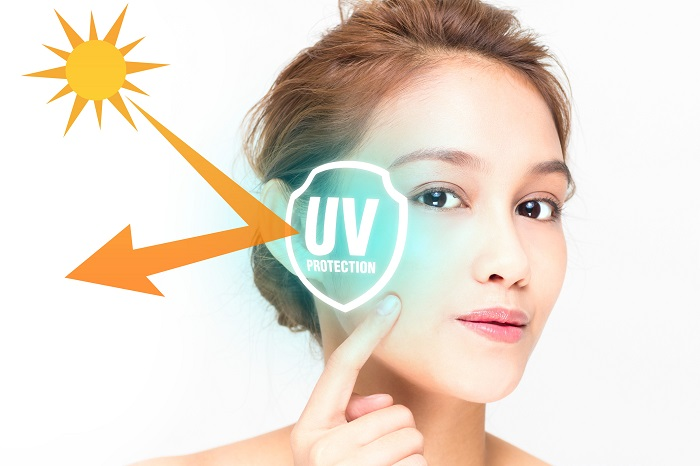 An  image of a woman demonstrating how UV protection works.