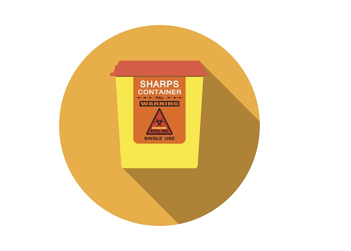 Illustration of a sharps container